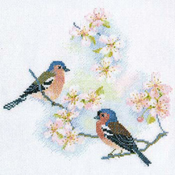 Chaffinches and Blossom Cross Stitch Kit